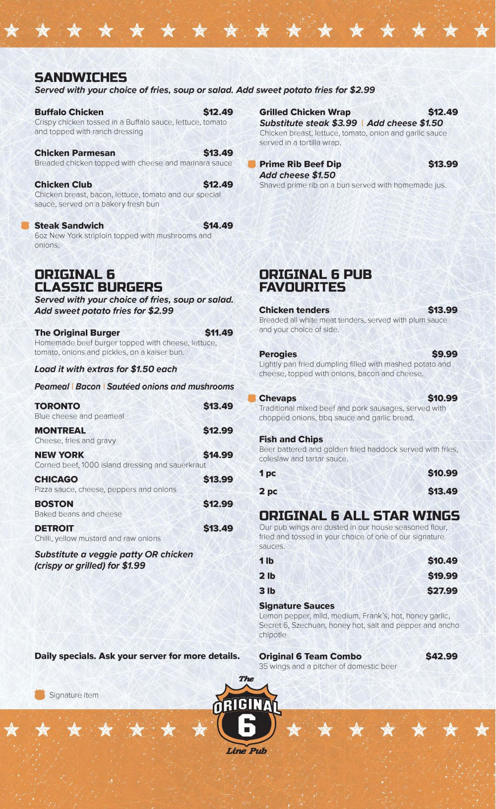The Orginal 6th line Pub menu page 2